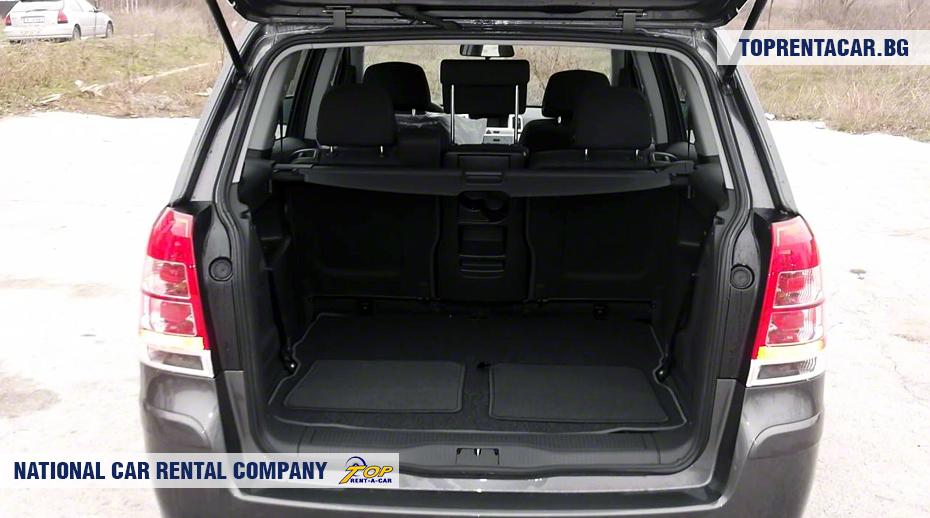 Opel Zafira - widok z bagażnika